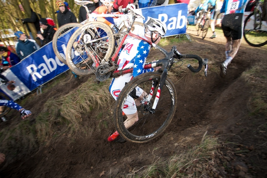 Logan Owen en route to 14th place in the U23 event. Photo by Rob Jones