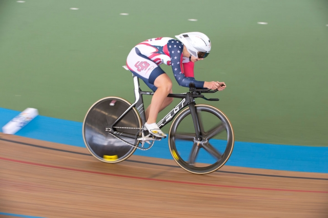 Sarah Hammer on her way to a silver medal in the women's individual pursuit at the 2014 UCI Track World Championships in Cali, Colombia