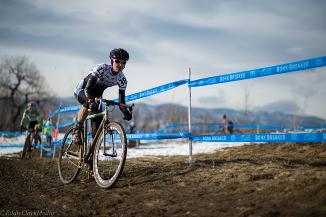 Ellen Sherrill took a hard-fought second place in the women's singlespeed race