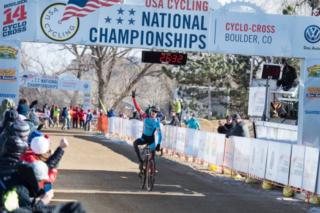 Spencer Petrov crosses the line victorious in the juniors men's 15-16 division