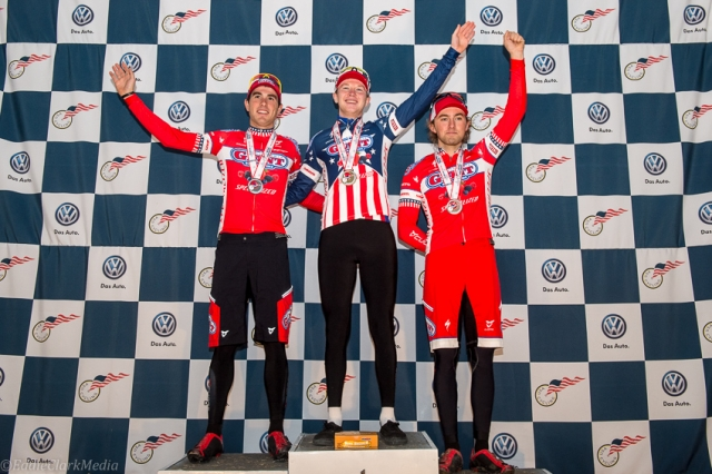The men's U23 podium was an all California Giant Berry Farms affair with Yannick Eckmann, Logan Owen and Cody Kaiser.