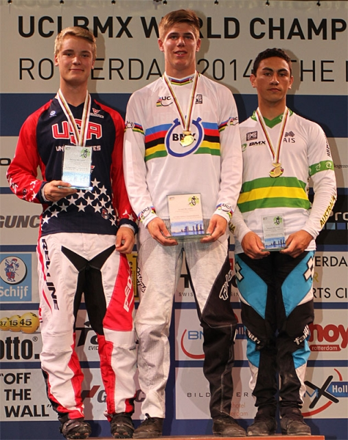 Collin Hudson (left) was second in the junior men's time test.
