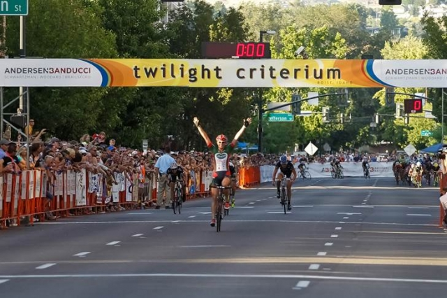 Erica Allar wins the women's pro race at the Ken Hanson (right) just edges out Luke Keough to win the men's pro race at the Twilight Criterium.