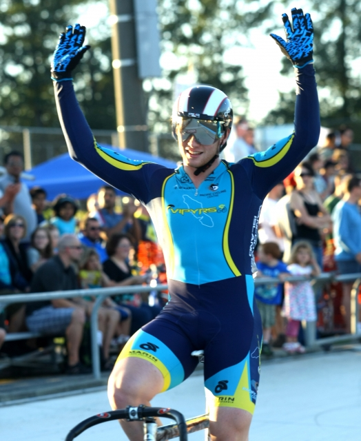 Evan Carey wins the men's keirin on July 25.