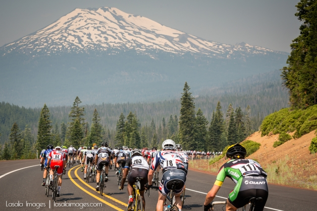 Men's riders climb the scenic Oregon roads at the Cascade Cycling Classic.
