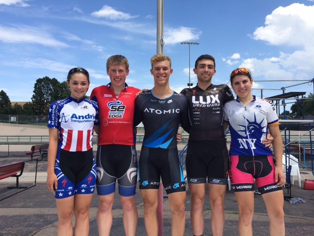 Mullis, Mellen, Suozzi, Horvet and Sante trained at the Juniors Track World Championships Camp.