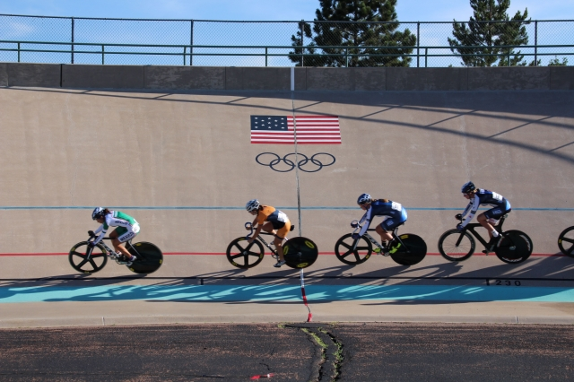 Riders vie for position at the Colorado Springs Velodrome.