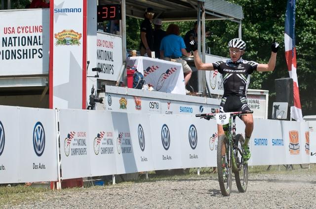 Swenson crosses the finish line.