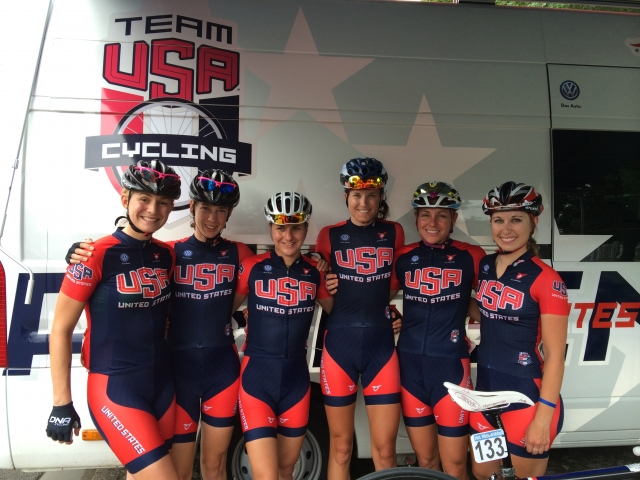The women's road development team rode the BeNe Tour in Belgium July 19-20. Megan Guarnier (third from left) finished fifth overall. (photo by Jack Seehafer)