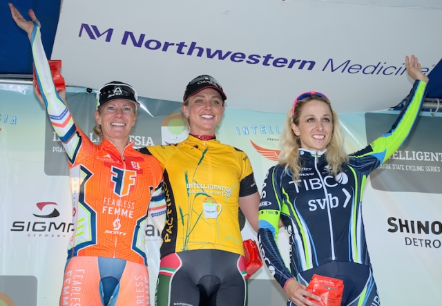Tina Pic, Erica Allar and Samantha Schneider (l to r) top the women's podium.