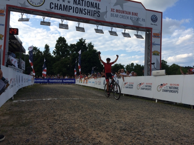 Todd Wells posts up after his convincing Pro Cross-Country National Championship win.