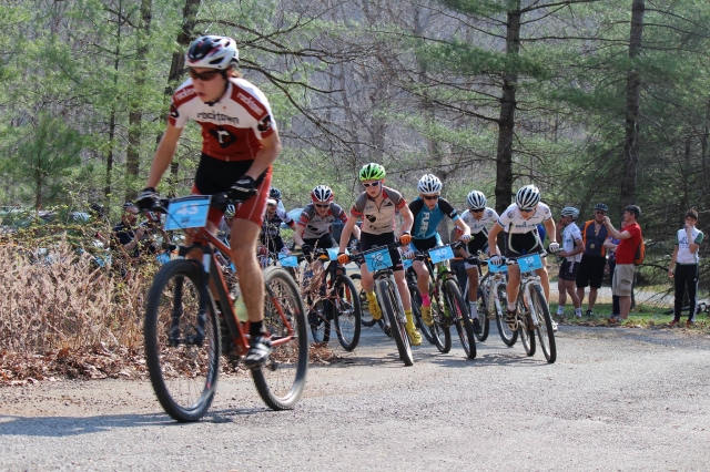 A race start during round four of the Virginia High School Mountain Bike Series.