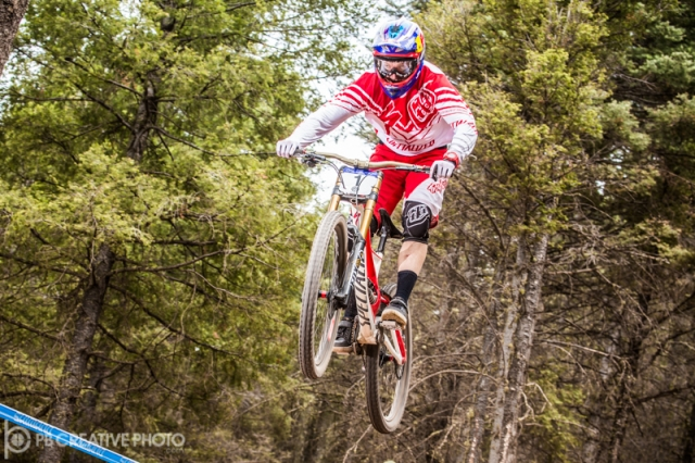 Aaron Gwin topped the pro men's field to repeat as downhill champ