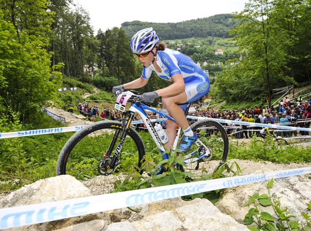 Georgia Gould finished 18th at the 2014 UCI Mountain Bike World Cup #4.