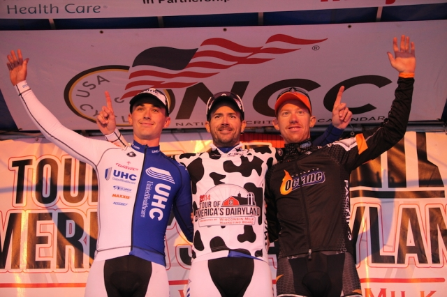 Luke Keough, Kenneth Hanson and Daniel Holloway (l to r) celebrate on the podium after the June 22 criterium.