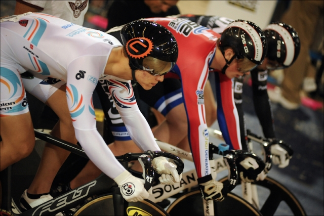 Riders prepare to begin the men's 17-18 team sprint.