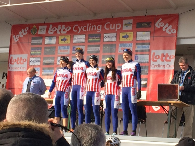 Brianna Walle, Lauren Komanski, Alexis Ryan, Korina Huizar and Maura Kinsella during team presentation at Le Samyn des Dames