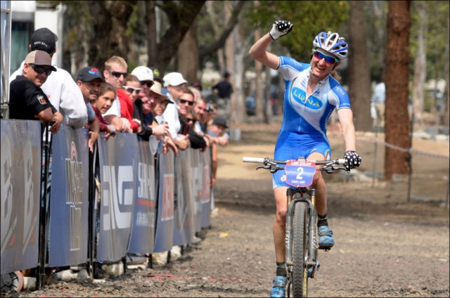 Catherine Pendrel wins the US Cup Pro Series women's race at Fontana