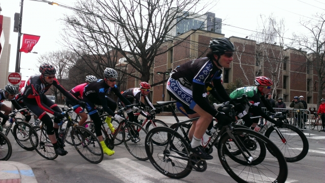 Kai Wiggins (Middlebury) and Ford Murphy (Northeastern) come through the 4th turn a the Philly Phlyer Criterium.