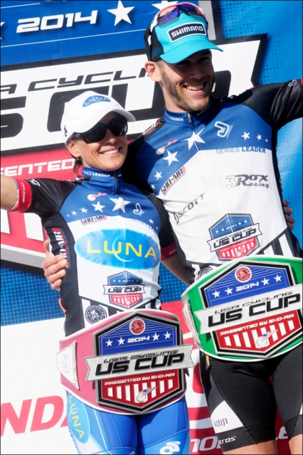 Katerina Nash and Geoff Kabush sport the belts of the US Cup Pro Series leaders