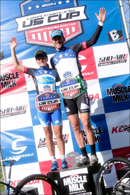 Katerina Nash (Luna Pro Team) and Geoff Kabush (Scott-3Rox) don the USA Cycling US CUP leaders' belts atop the podium at the Bonelli Park race