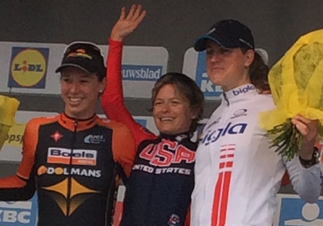 Lauren Hall on top of the podium after winning Gent-Wevelgem. Photo by Jack Seehafer