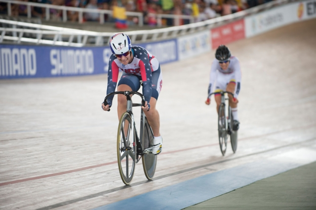 Sarah Hammer on a straightaway in the women's omnium points race at the 2014 UCI Track World Championships in Cali, Colombia