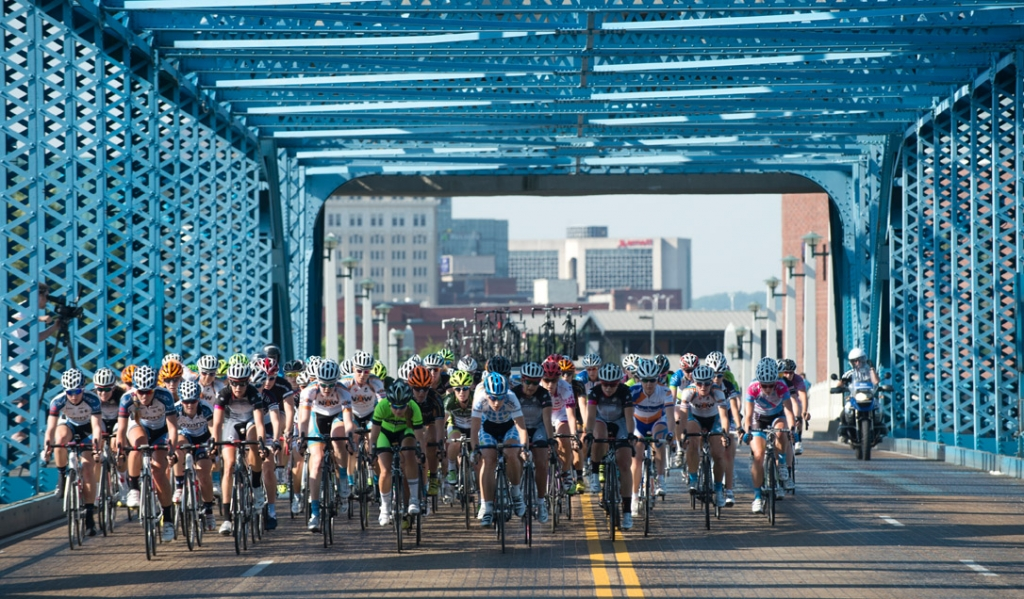 The women raced alongside the men in the 2013 USA Cycling Professional Road and Time Trial National Championships.