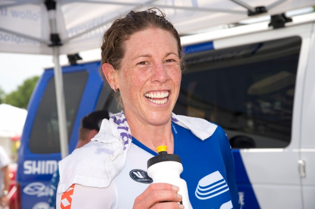 Alison Powers is all smiles after claiming her second national time trial title