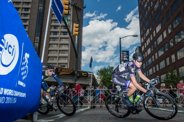 Division II men's winner Charlie Hough takes a corner on the criterium course.