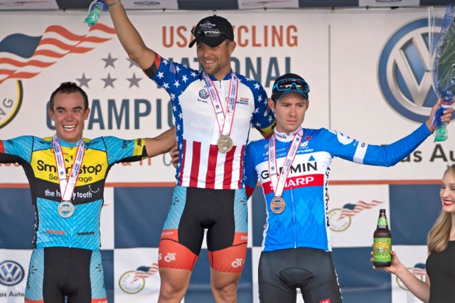 Eric Marcotte on the top step, flanked by Travis McCabe (l) and Alex Howes