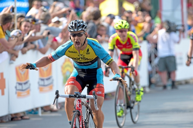 Eric Marcotte wins the sprint for the Stars-and-Stripes in the men's road race