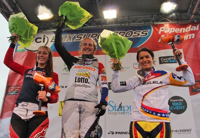 Felicia Stancil on the podium with gold medalist Laura Smulders and bronze medalist Stefany Hernandez
