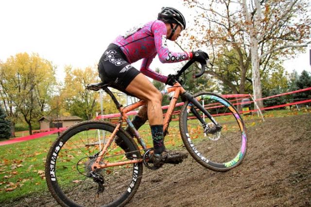 Emily Kachorek heads uphill at a 'cross race