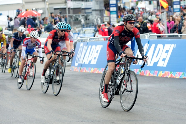 Brent Bookwalter (r) and Alex Howes both finished the men's road race within 14 seconds of the winning time.