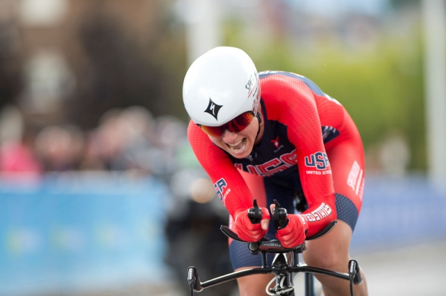 Evelyn Stevens shows the effort needed to be on the podium at the world championships