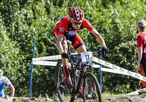 Neilson Powless top rider for Team USA Cycling on day 3 of Mountain Bike Worlds