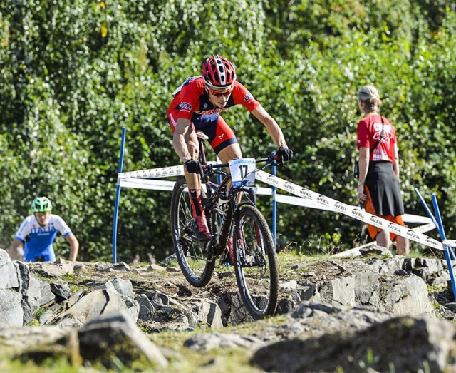 Neilson Powless rode to 8th in the junior men's XC