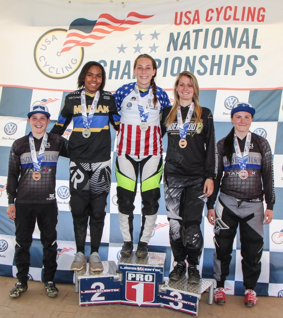 The women's podium on Sunday-