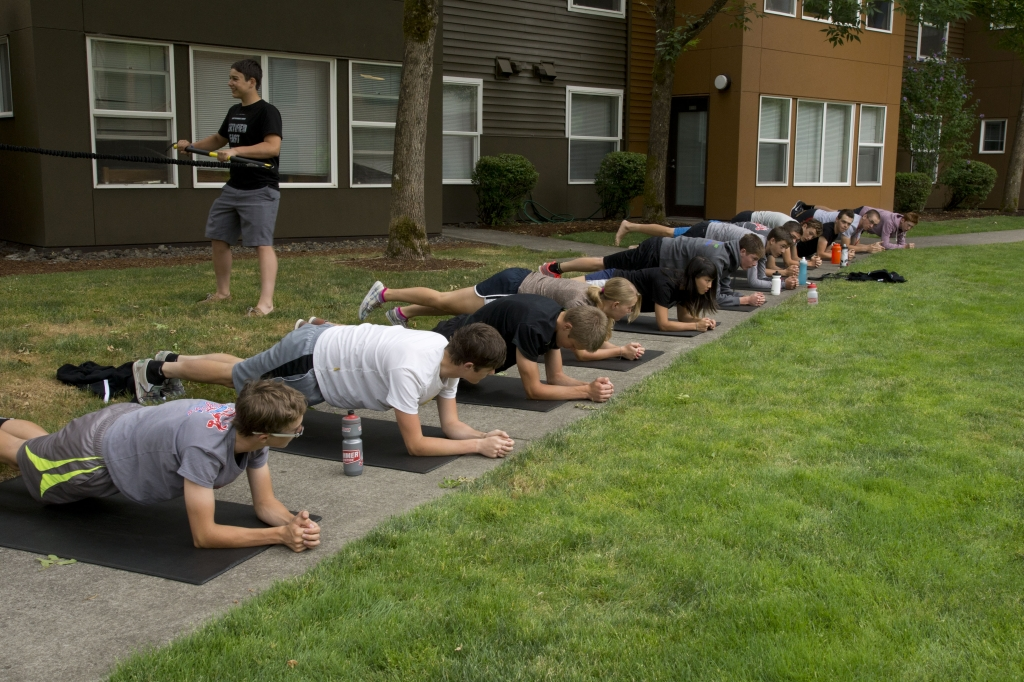 Road camp participants focus on some strength exercises