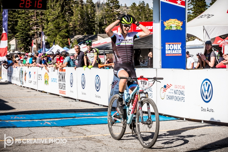 Carson Benjamin takes the win at Mountain Bike Nationals! Photo by PB Creative