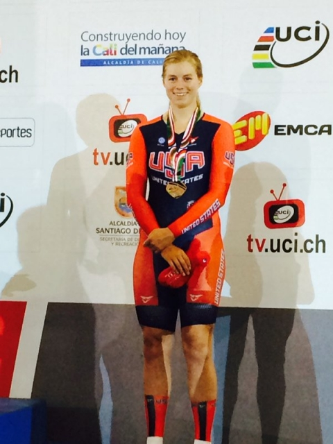 Jennifer Valente won scratch race bronze on Saturday.