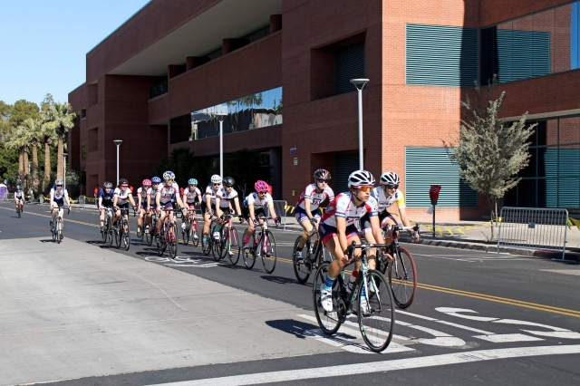 Erica Clevenger (UA) moves up to lead the combined Women's A/B field at the Sun Devil Crit (Photo Credit: Jordan Summers).