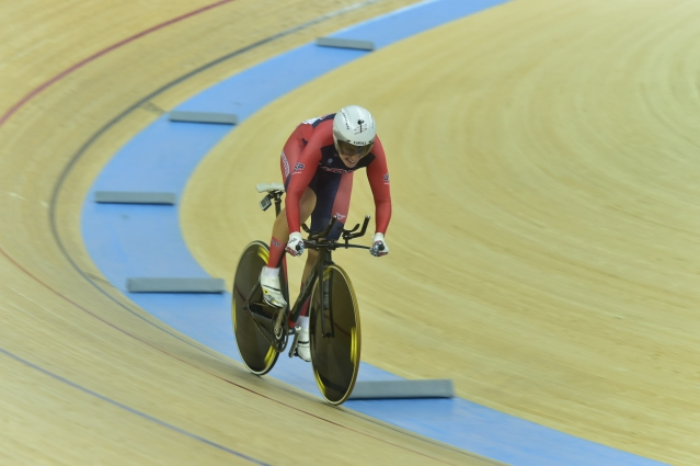 Sarah Hammer races in the women's omnium on Sunday.
