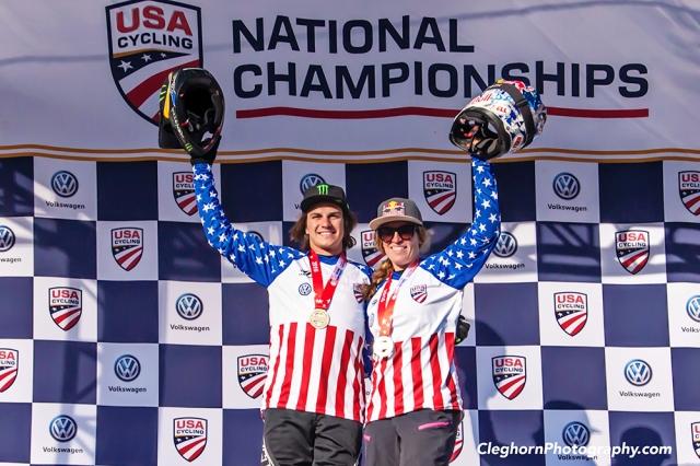 Mitch Ropelato and Jill Kintner on the podium