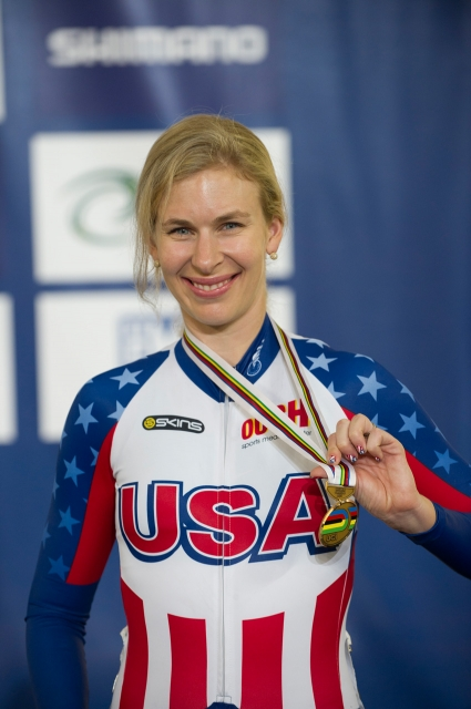 Sarah Hammer displaying her bronze medal in the women's omnium