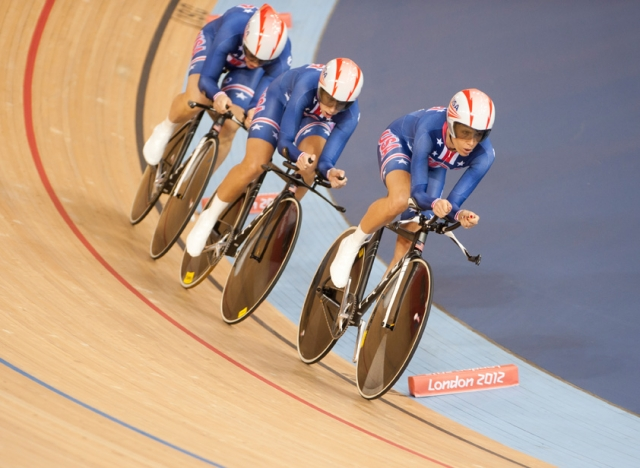 In order: Dotsie Bausch, Sarah Hammer and Jennie Reed during the women's team pursuit