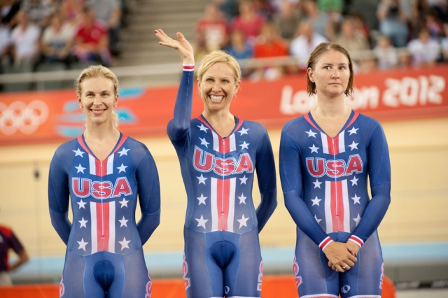 Three of the four American women on the podium after earning silver in the women's team pursuit