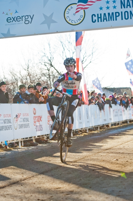 Zach McDonald celebrates winning the men U23 race