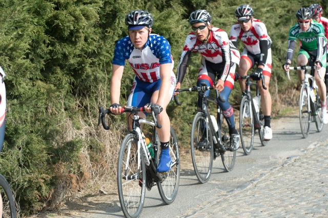 Tanner Putt leading a group during the U23 Tour de Flanders